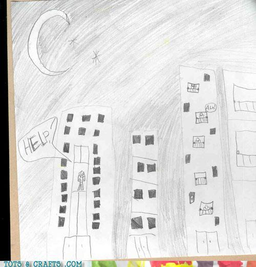 Funny Kids Drawings - In The City, No One Can Hear You Scream