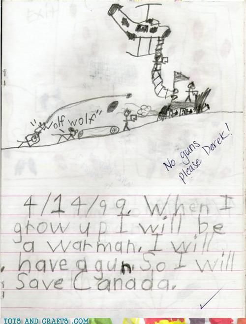 Funny Kids Drawings - No Guns Please Derek!